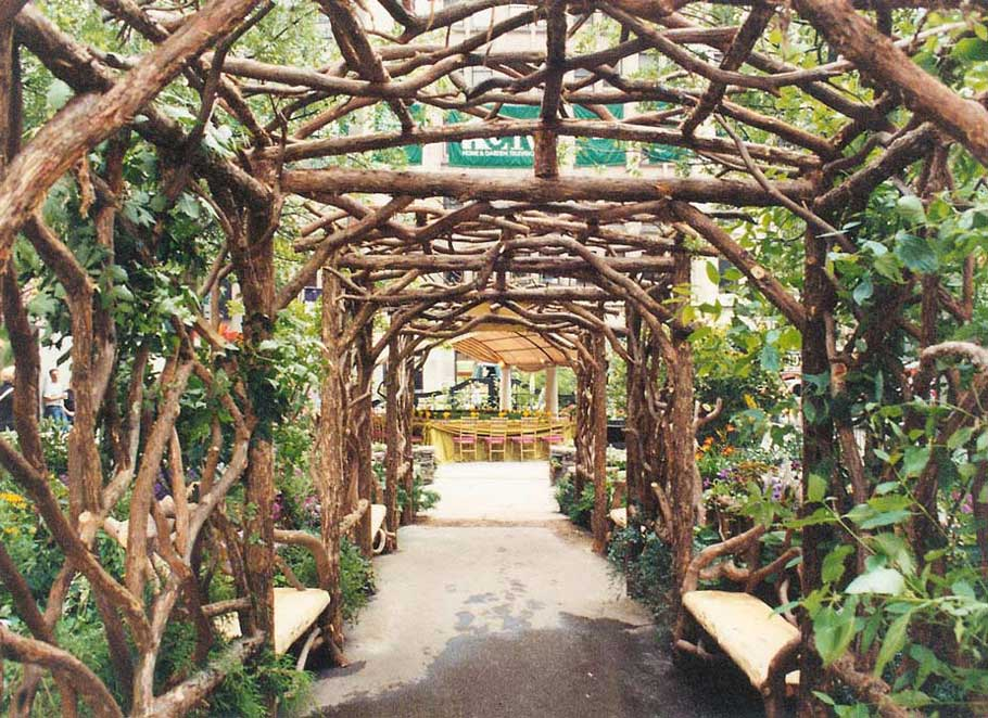 Rustic arbors pergolas wedding chuppahs branch trellises for sale - Pergola climbing plants under natures roof ...