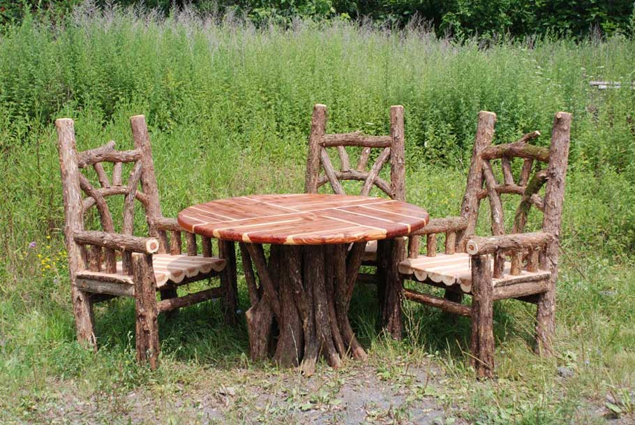Outdoor Rustic Chairs Thrones Patio Dining Sets Picnic Tables