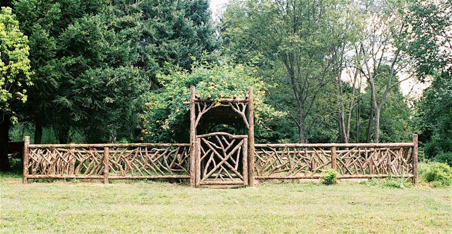 Rustic Garden Fencing Gates Wooden Deck Log Porch Railings