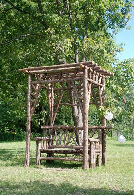Rustic Sitting Shelters Covered Garden Benches Log Sitting Pavilions For Sale