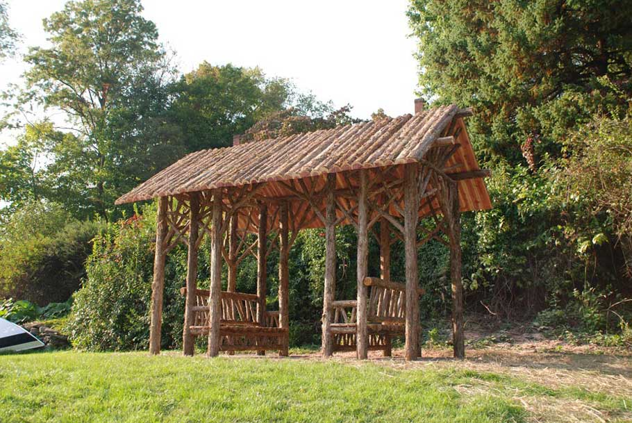 Escape Cedar Valley >> Rustic Sitting Shelters | Covered Garden Benches | Log ...