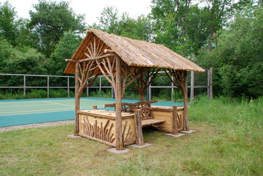 Covered Park Shelters : Rustic sitting shelters covered garden benches log
