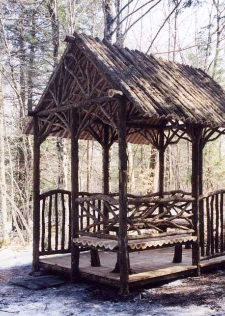 Rustic Sitting Shelters Covered Garden Benches Log